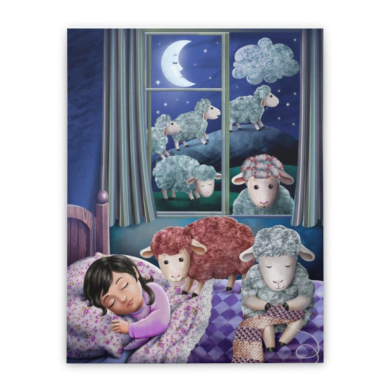 Counting sheeps (girl version) Home Stretched Canvas by andrula's Artist Shop