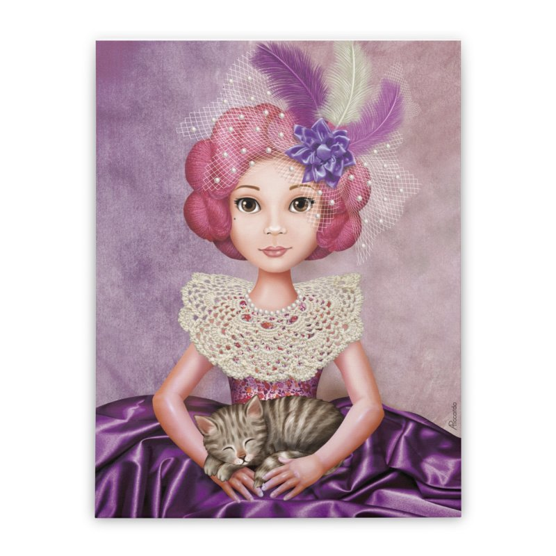 Girl with cat. Home Stretched Canvas by andrula's Artist Shop
