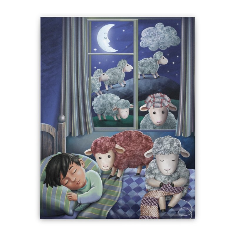 Counting sheeps Home Stretched Canvas by andrula's Artist Shop