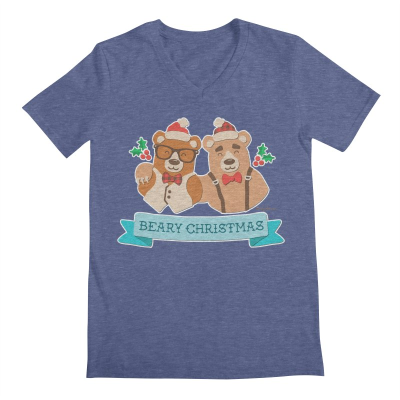 BEARy Christmas Men's Regular V-Neck by Andy Bauer's Shop