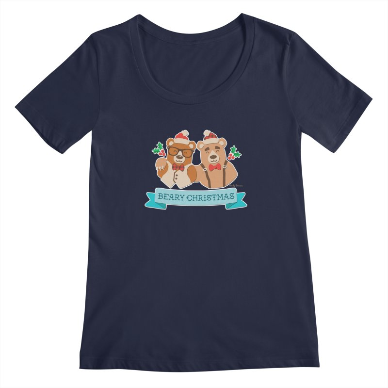 BEARy Christmas Women's Regular Scoop Neck by Andy Bauer's Shop