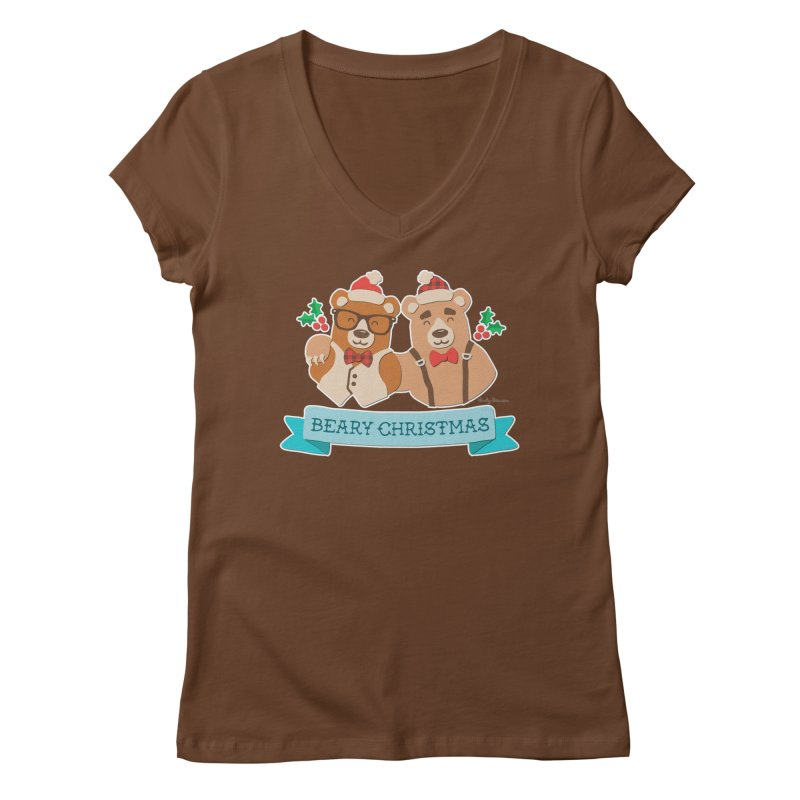 BEARy Christmas Women's Regular V-Neck by Andy Bauer's Shop
