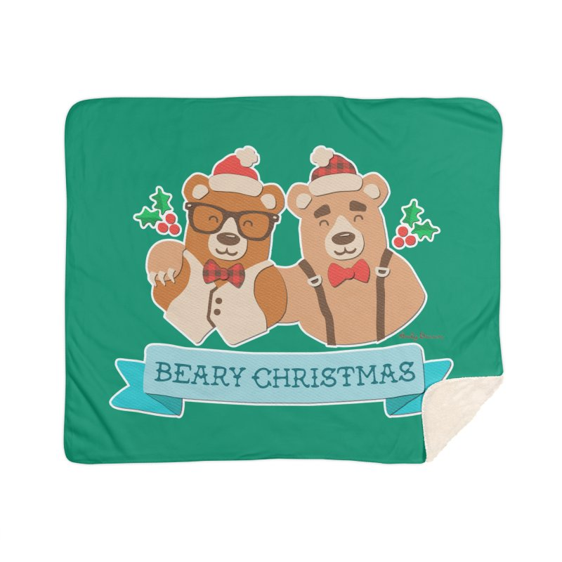 BEARy Christmas Home Sherpa Blanket Blanket by Andy Bauer's Shop