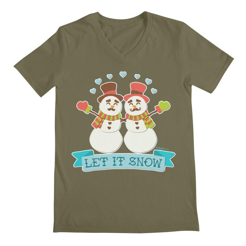 Let It Snow Men's Regular V-Neck by Andy Bauer's Shop