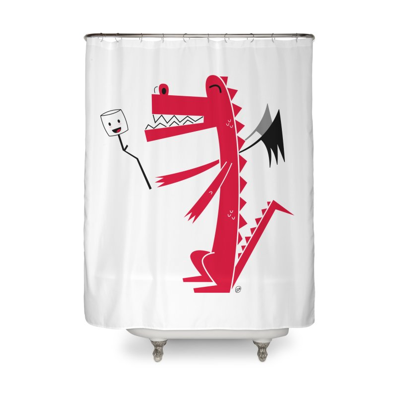 Happy Dragon with a marshmallow Home Shower Curtain by