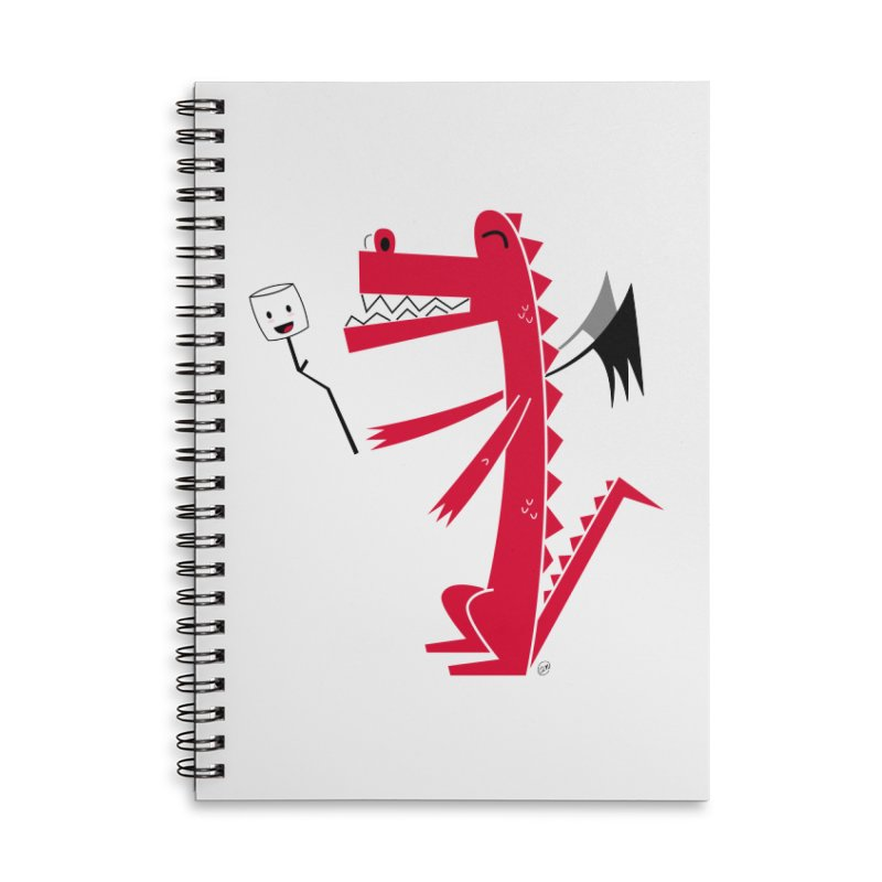 Happy Dragon with a marshmallow Accessories Lined Spiral Notebook by