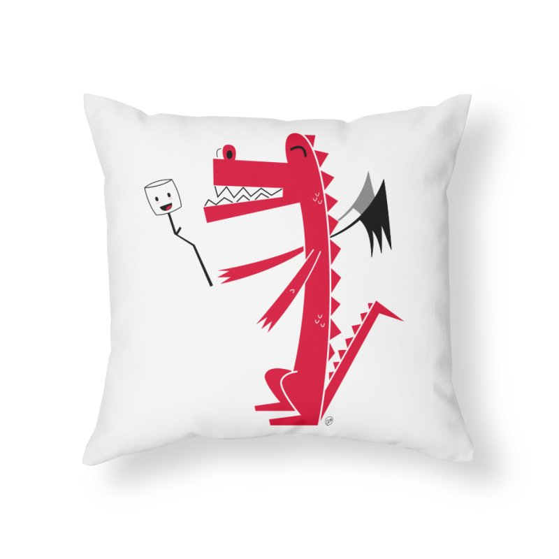Happy Dragon with a marshmallow Home Throw Pillow by