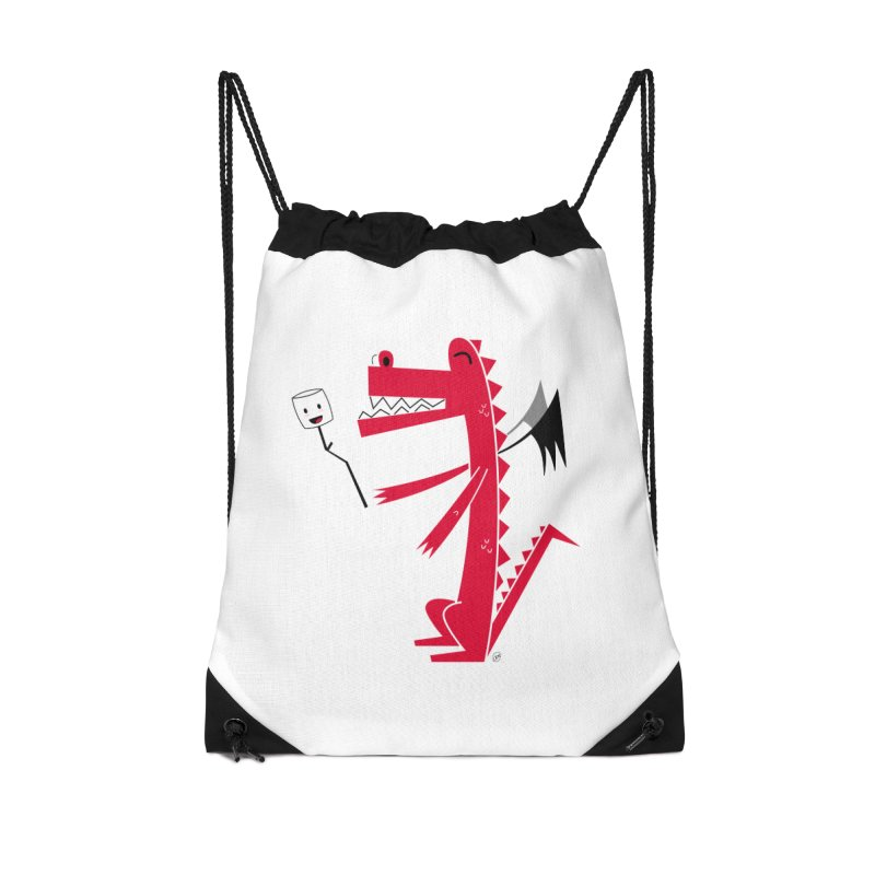 Happy Dragon with a marshmallow Accessories Drawstring Bag Bag by