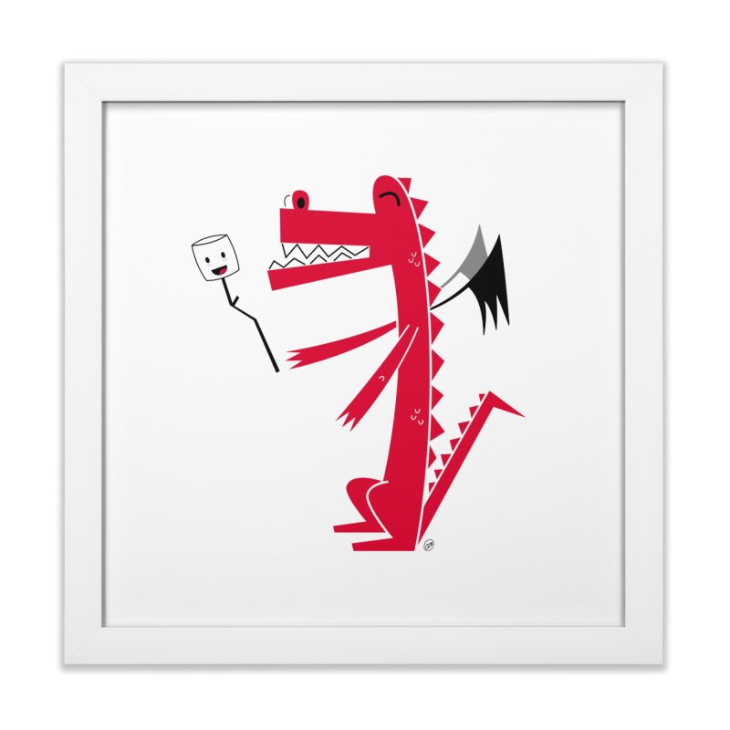 Happy Dragon with a marshmallow Home Framed Fine Art Print by