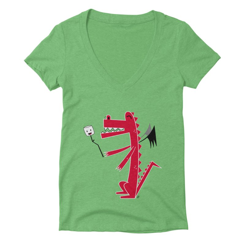 Happy Dragon with a marshmallow Women's Deep V-Neck V-Neck by