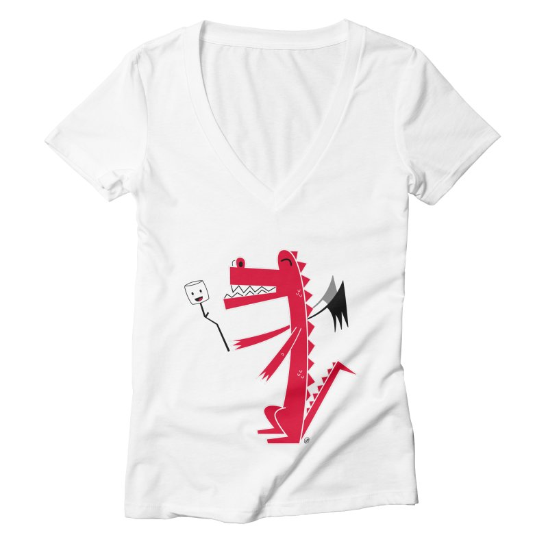 Happy Dragon with a marshmallow Women's V-Neck by
