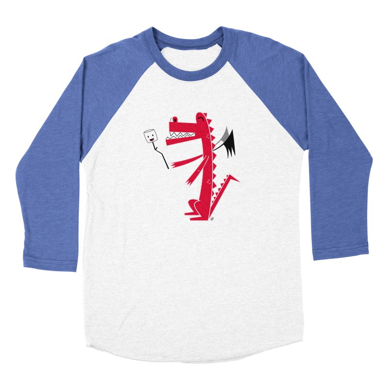 Happy Dragon with a marshmallow Women's Baseball Triblend Longsleeve T-Shirt by