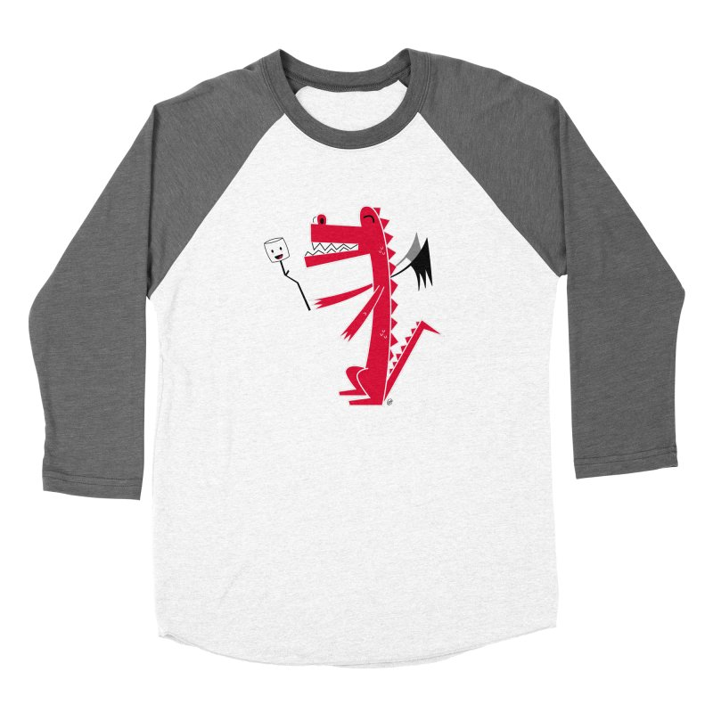 Happy Dragon with a marshmallow Men's Baseball Triblend Longsleeve T-Shirt by