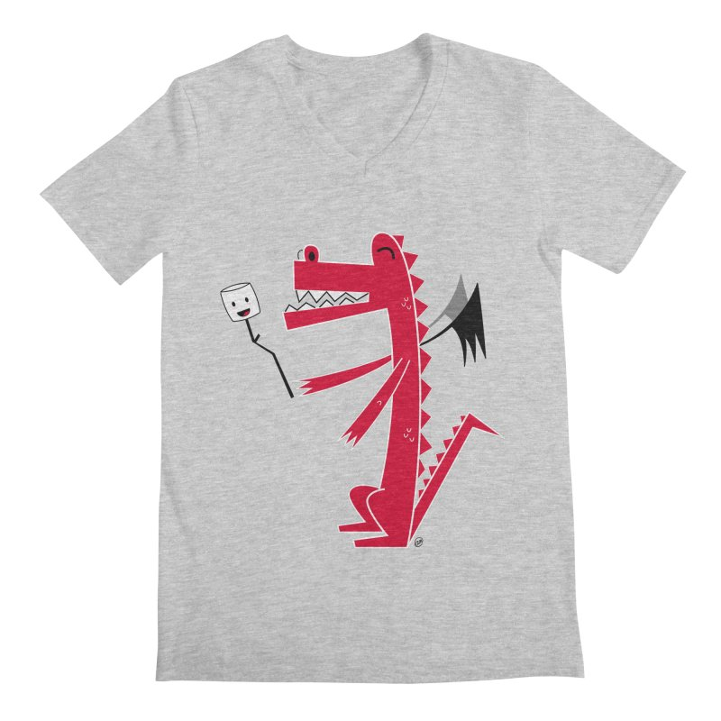 Happy Dragon with a marshmallow Men's Regular V-Neck by