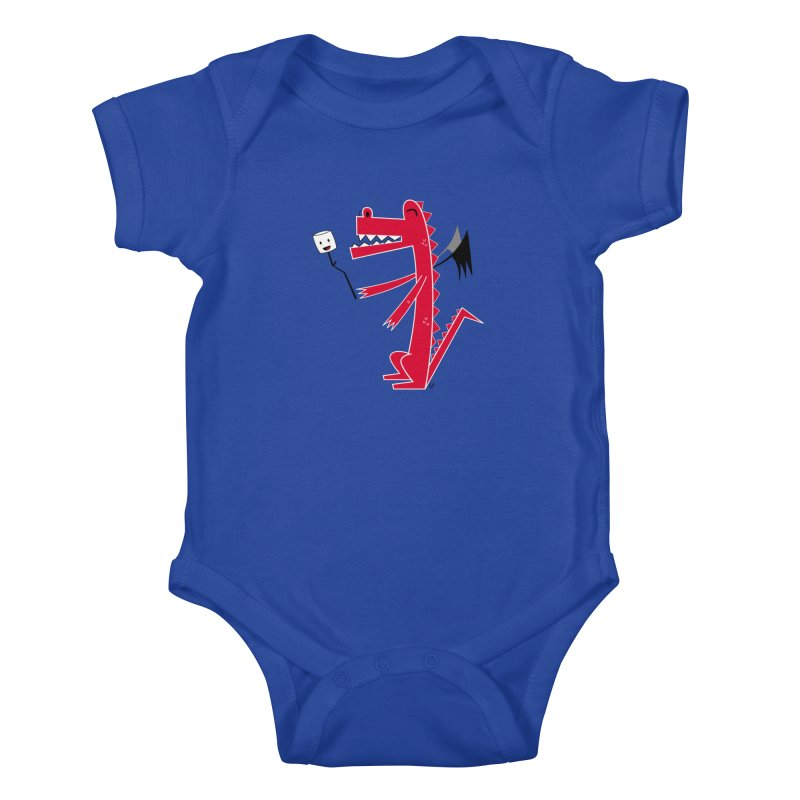 Happy Dragon with a marshmallow Kids Baby Bodysuit by