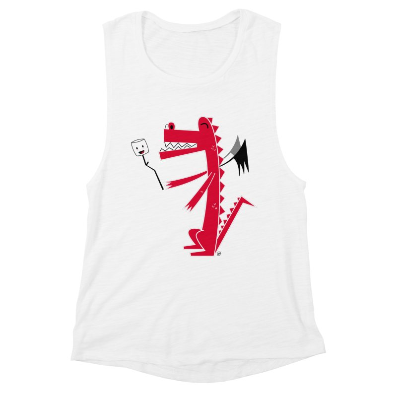 Happy Dragon with a marshmallow Women's Muscle Tank by