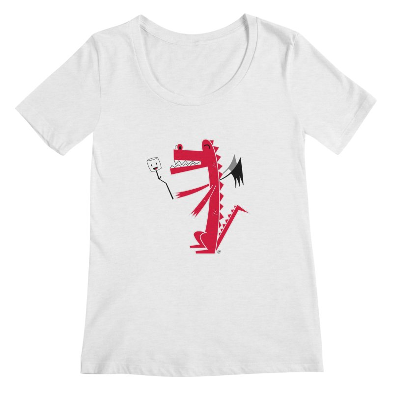 Happy Dragon with a marshmallow Women's Scoop Neck by