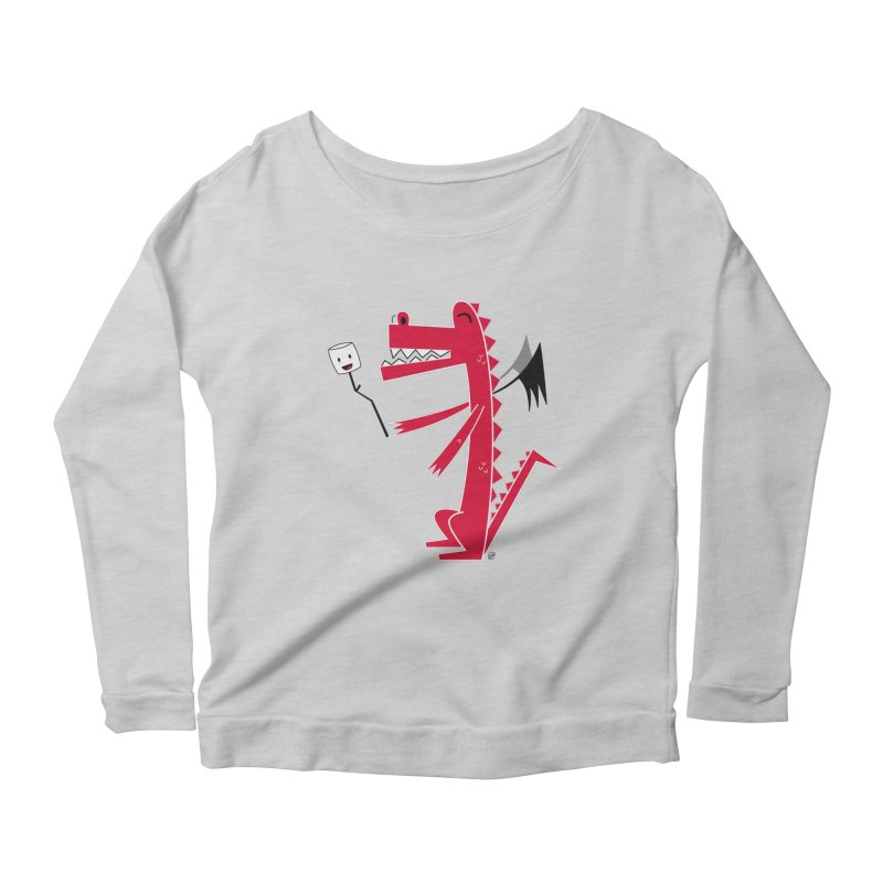 Happy Dragon with a marshmallow Women's Scoop Neck Longsleeve T-Shirt by