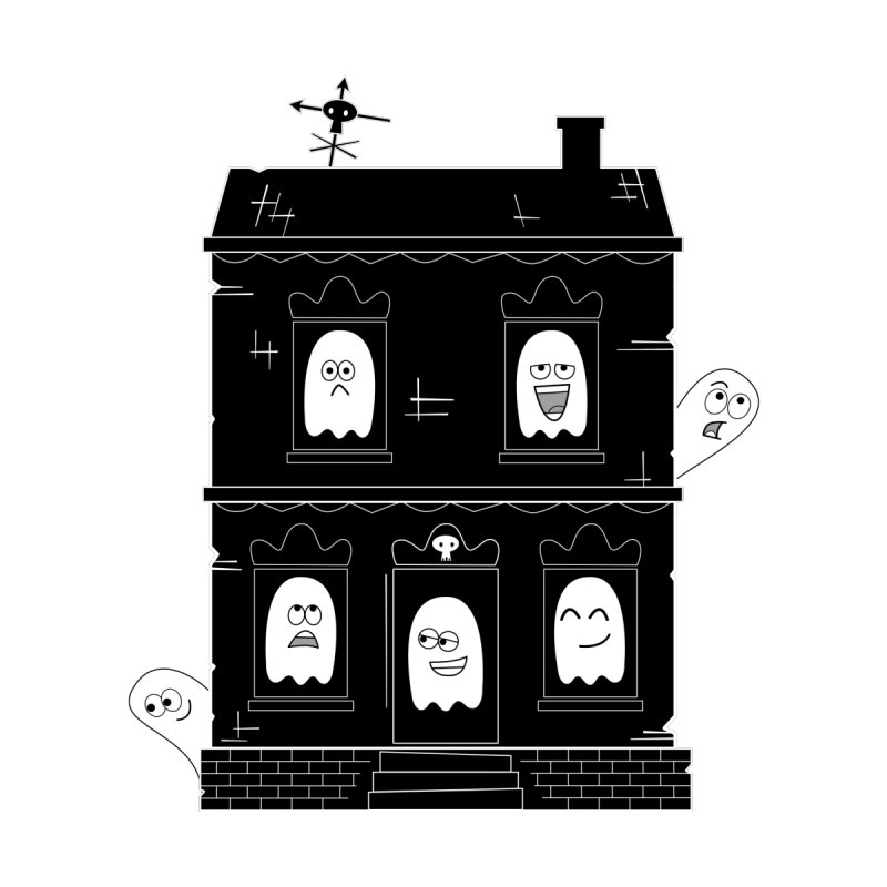 Spooky Cute Ghost Haunted House Accessories Greeting Card by