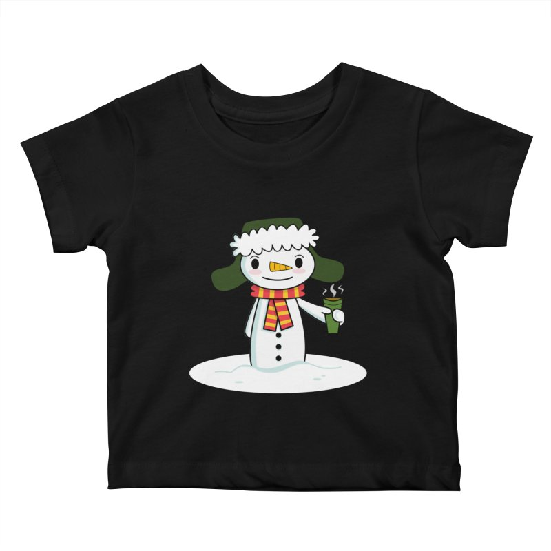 Happy Snowman with Coffee Kids Baby T-Shirt by