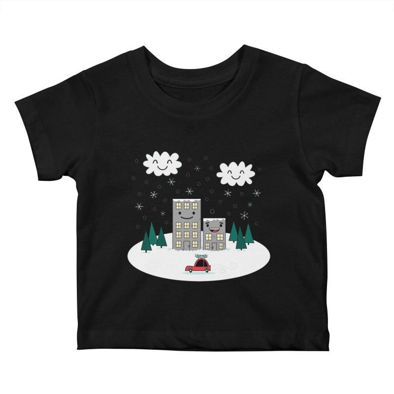 Kawaii Winter Town Kids Baby T-Shirt by