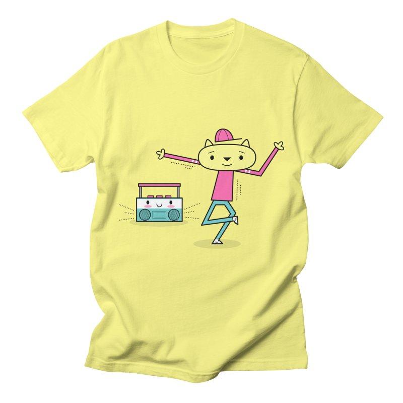 Break Dancing HipHop Cat and Kawaii Boom-Box Men's T-Shirt by