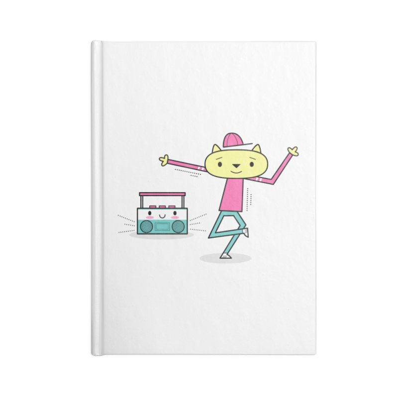 Break Dancing HipHop Cat and Kawaii Boom-Box Accessories Notebook by
