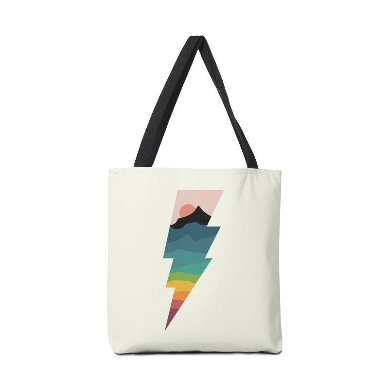 Rainbow Lightning Accessories Tote Bag Bag by andywestface's Artist Shop