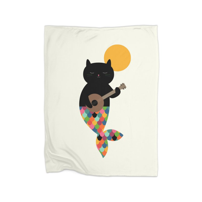 Purrmaid Home Fleece Blanket Blanket by andywestface's Artist Shop