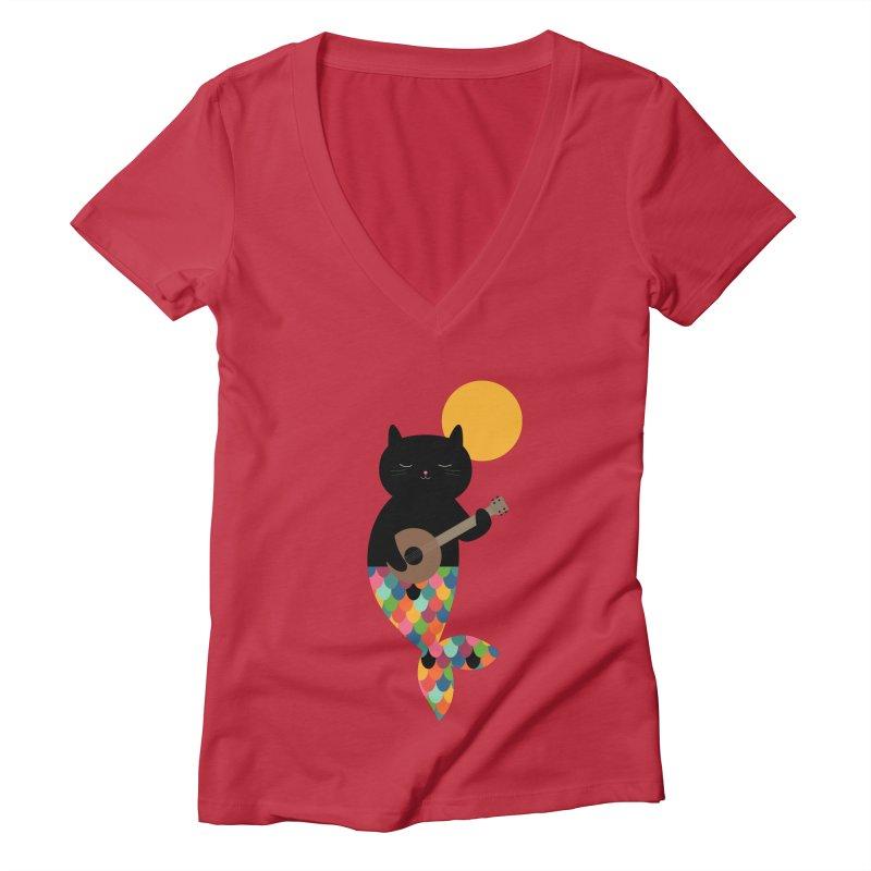 Purrmaid Women's Deep V-Neck V-Neck by andywestface's Artist Shop
