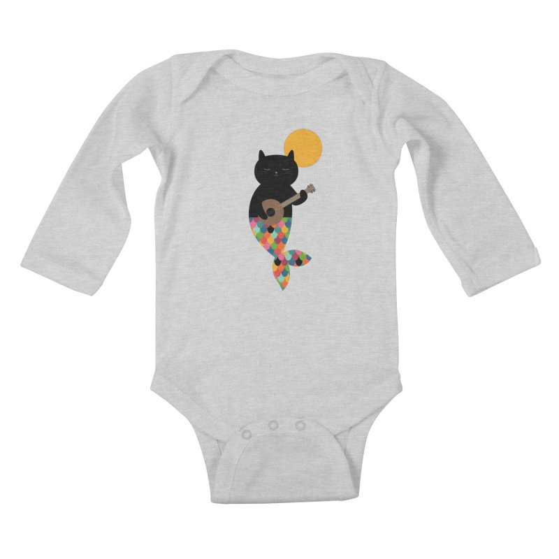 Purrmaid Kids Baby Longsleeve Bodysuit by andywestface's Artist Shop