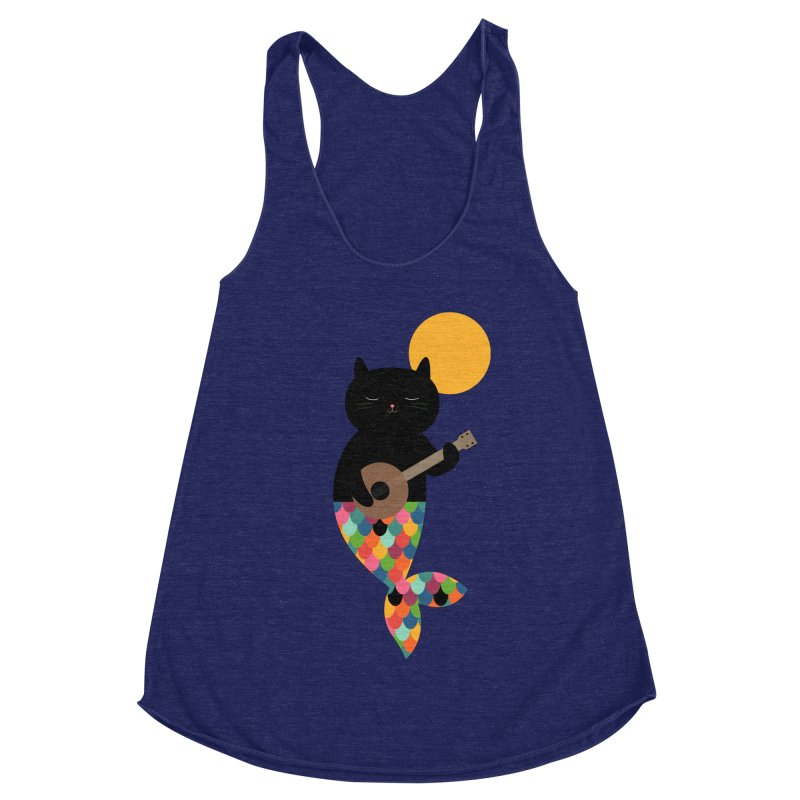 Purrmaid Women's Racerback Triblend Tank by andywestface's Artist Shop