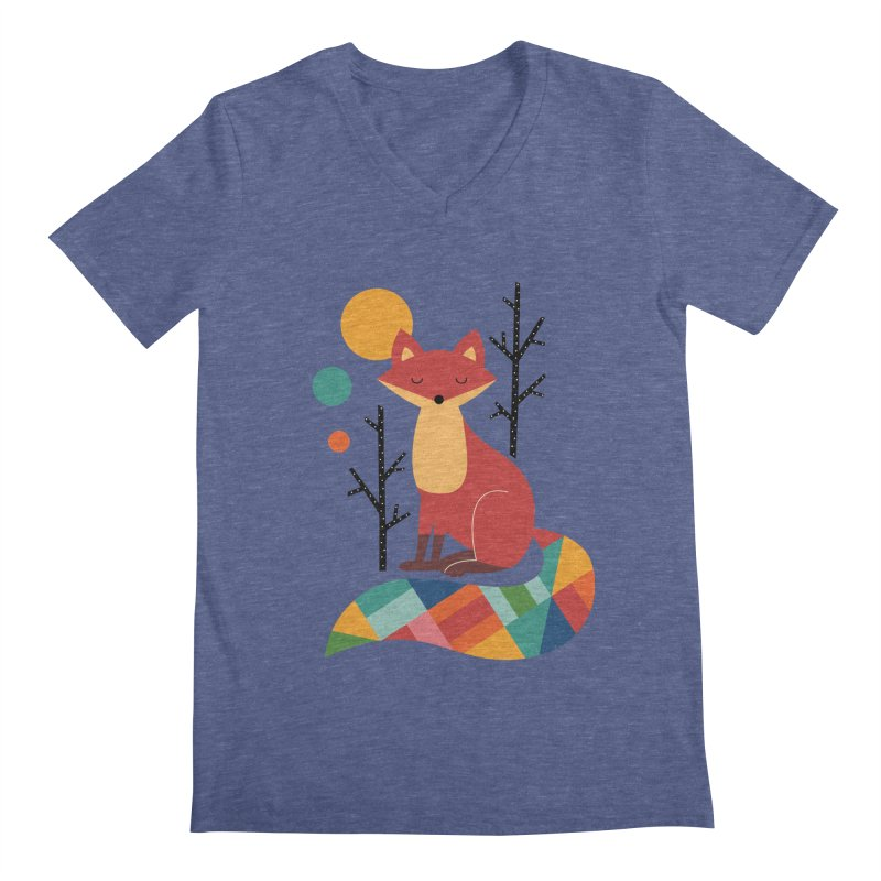 Rainbow Fox Men's V-Neck by andywestface's Artist Shop