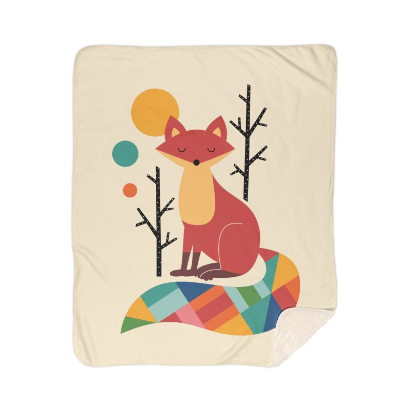 Rainbow Fox Home Blanket by andywestface's Artist Shop