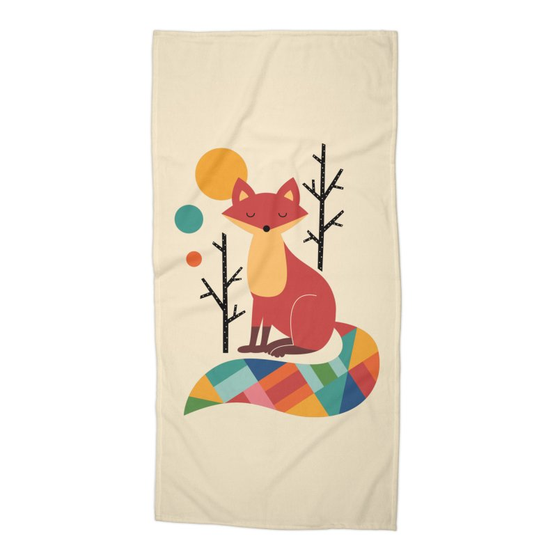 Rainbow Fox Accessories Beach Towel by andywestface's Artist Shop