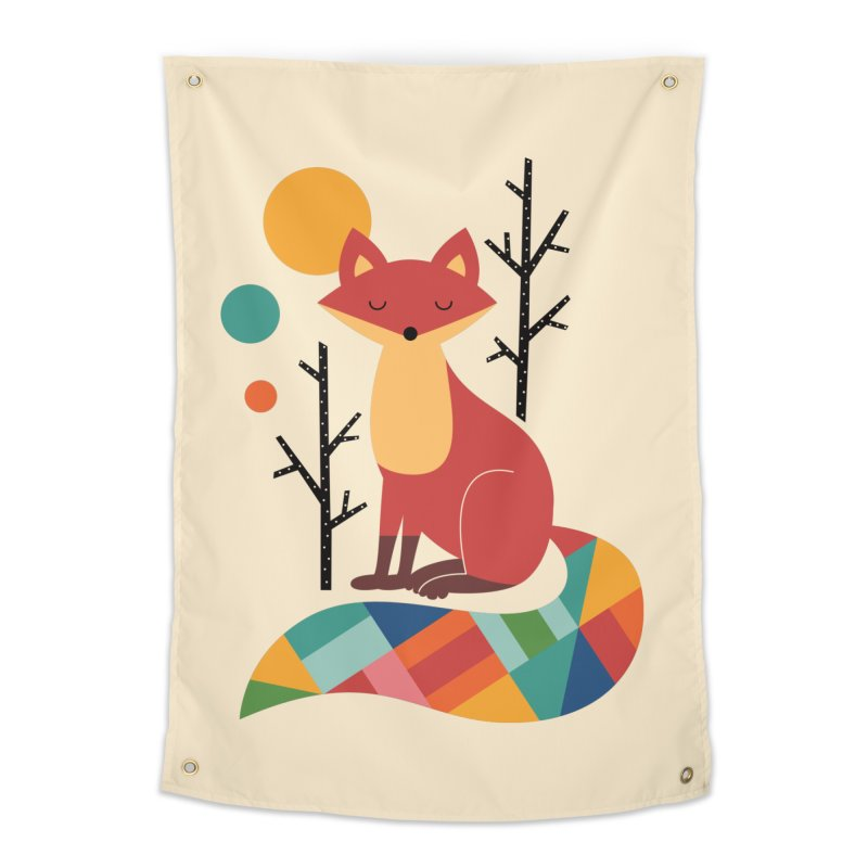 Rainbow Fox Home Tapestry by andywestface's Artist Shop