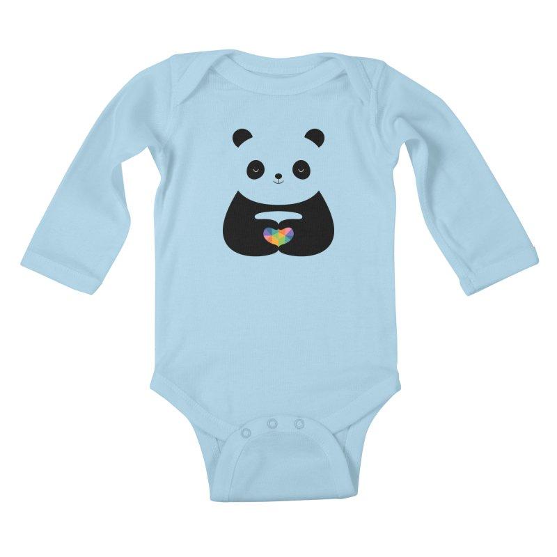 Panda Love Kids Baby Longsleeve Bodysuit by andywestface's Artist Shop