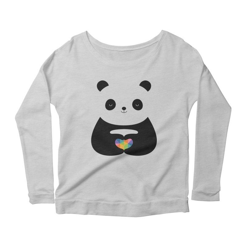 Panda Love Women's Longsleeve Scoopneck  by andywestface's Artist Shop