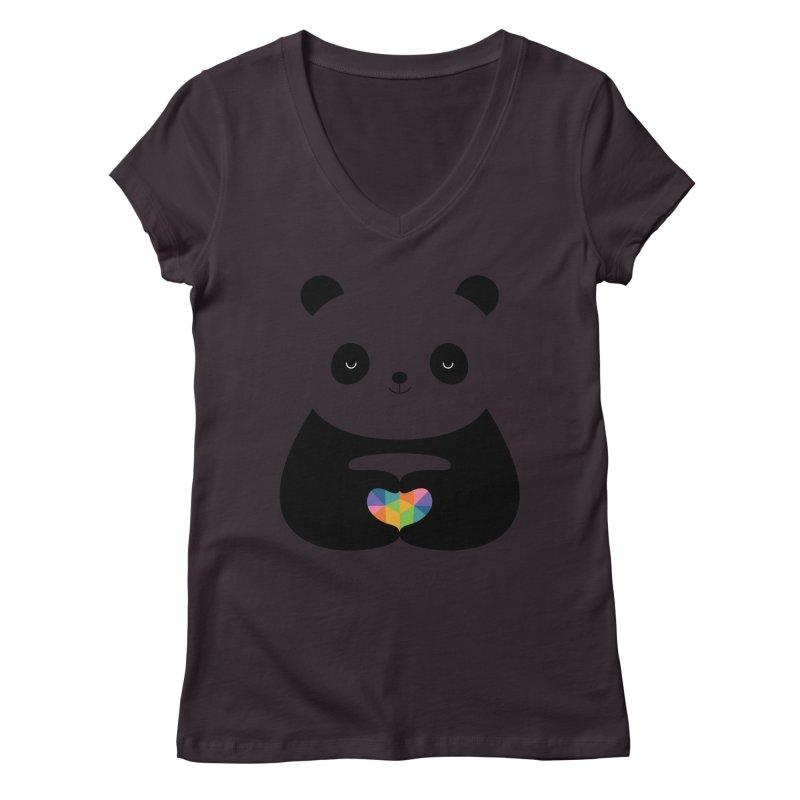 Panda Love Women's V-Neck by andywestface's Artist Shop