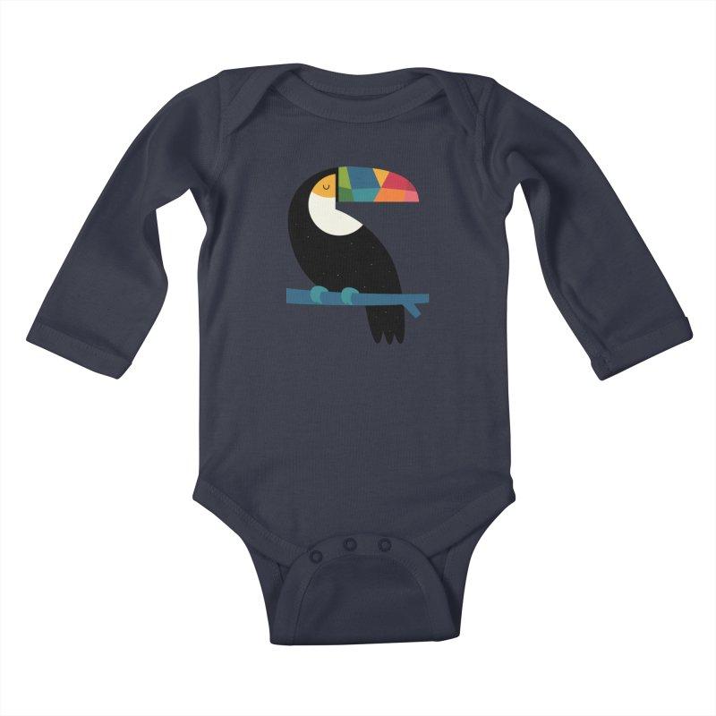 Rainbow Toucan Kids Baby Longsleeve Bodysuit by andywestface's Artist Shop
