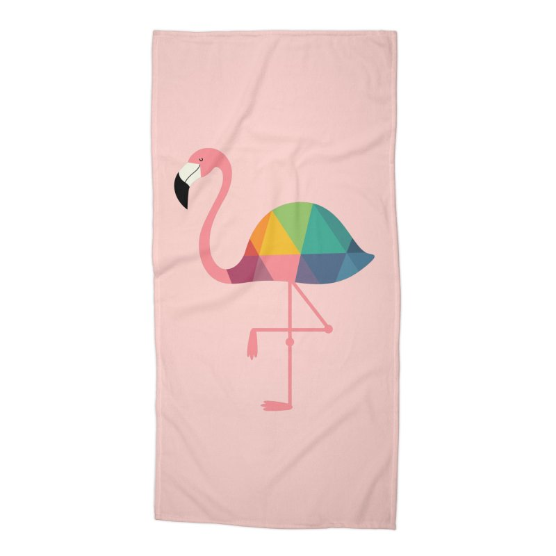 Rainbow Flamingo Accessories Beach Towel by andywestface's Artist Shop