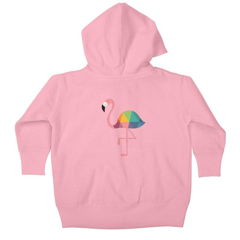 Rainbow Flamingo Kids Baby Zip-Up Hoody by andywestface's Artist Shop
