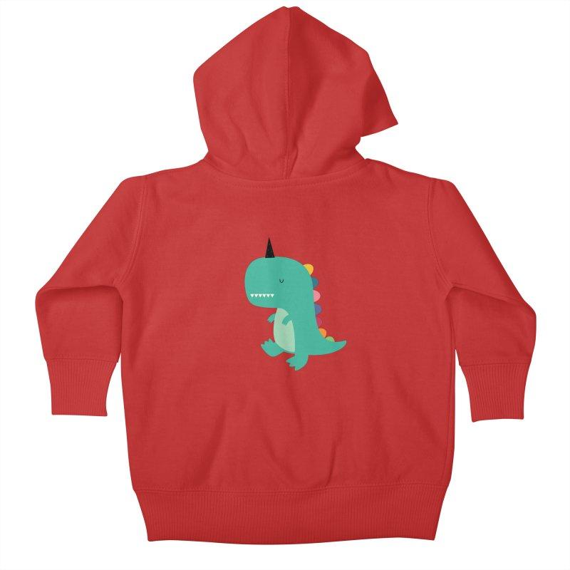 Dinocorn Kids Baby Zip-Up Hoody by andywestface's Artist Shop