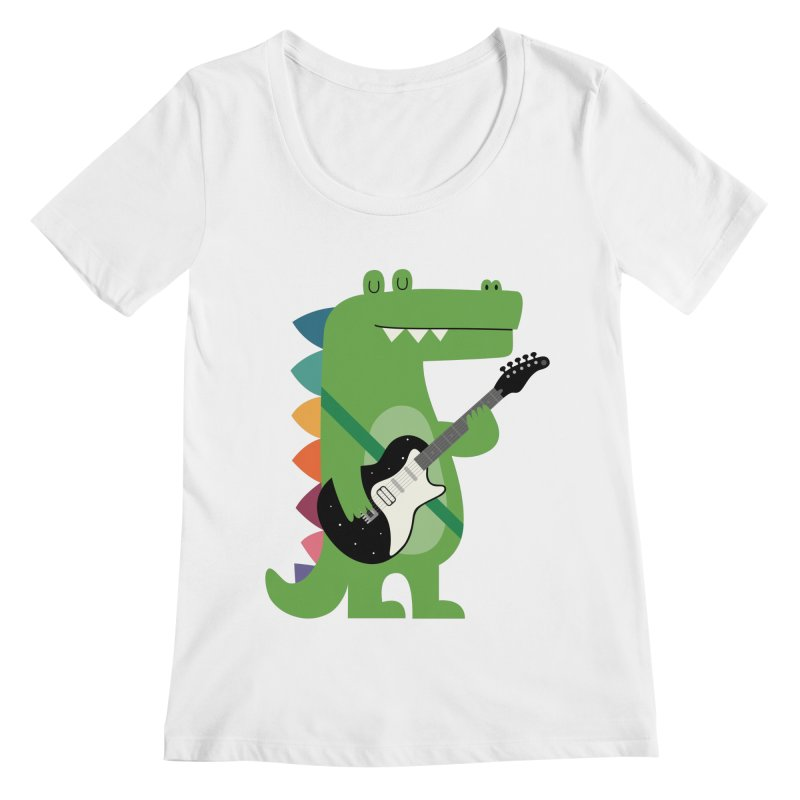 Croco Rock Women's Regular Scoop Neck by andywestface's Artist Shop