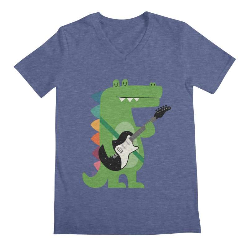 Croco Rock Men's Regular V-Neck by andywestface's Artist Shop