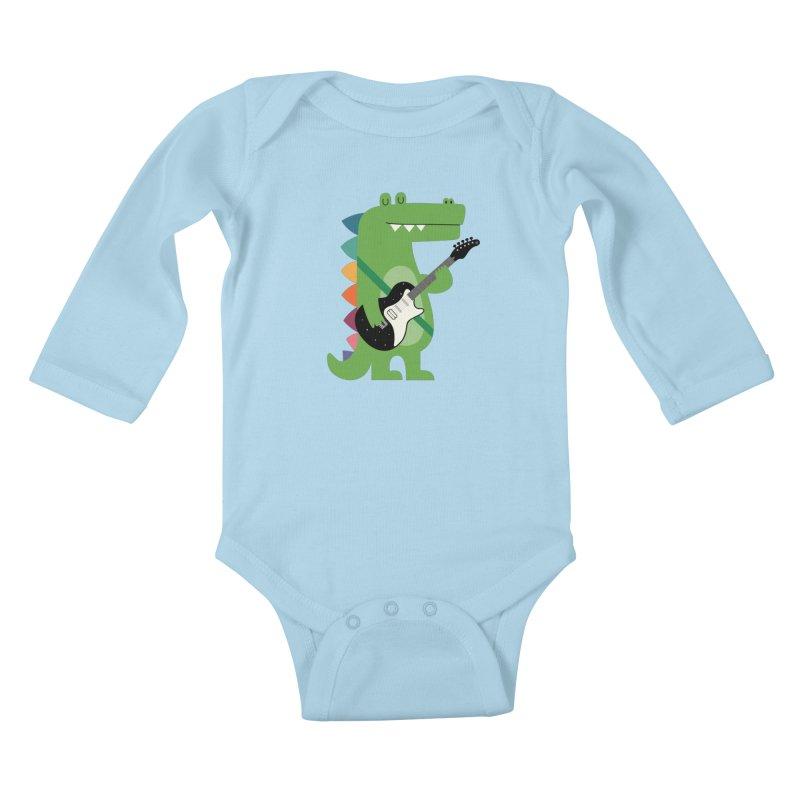 Croco Rock Kids Baby Longsleeve Bodysuit by andywestface's Artist Shop