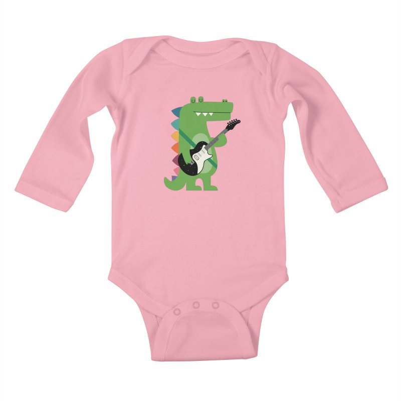 Croco Rock Kids Baby Longsleeve Bodysuit by andywestface's Artist Shop