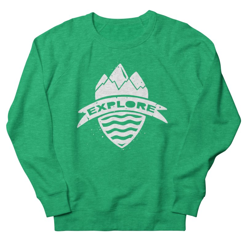 Explorer's Crest in Men's French Terry Sweatshirt Heather Kelly by DYLAN'S SHOP
