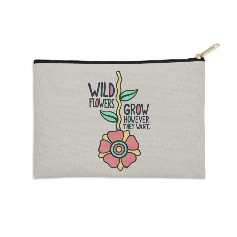 W/LDFLOWER Accessories Zip Pouch by DYLAN'S SHOP