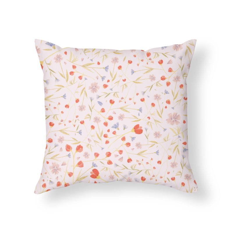 W/LDFLOWERS Home Throw Pillow by DYLAN'S SHOP